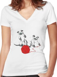 Siamese Kittens II Women's Fitted V-Neck T-Shirt