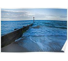 Crashing waves at Bournemouth beach Poster