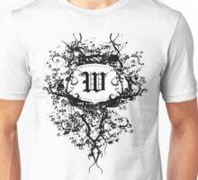 Retro Damask Pattern with Monogram Letter W Unisex T-Shirt