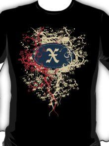 Retro Damask Pattern with Monogram Letter X T-Shirt