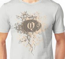 Retro Damask Pattern with Monogram Letter Q Unisex T-Shirt