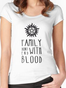 Family Dont End with Blood Women's Fitted Scoop T-Shirt