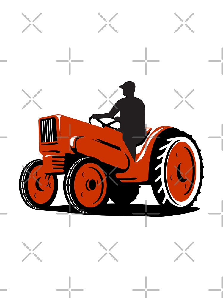 Farmer Driving Vintage Tractor Retro by patrimonio