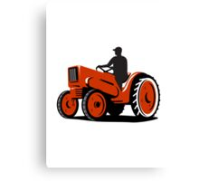 Farmer Driving Vintage Tractor Retro Canvas Print