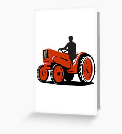 Farmer Driving Vintage Tractor Retro Greeting Card
