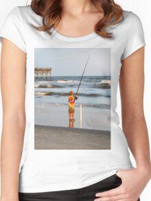 Little Boy Fishing Women's Fitted Scoop T-Shirt