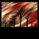 creepy forest under stormy sky by tia knight by Tia Knight