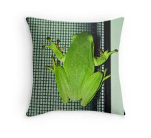 Frog on the screen Throw Pillow