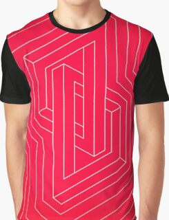 Modern minimal Line Art / Geometric Optical Illusion - Red Version  Graphic T-Shirt