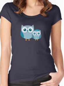 Blue baby Owl Women's Fitted Scoop T-Shirt
