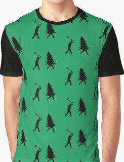 Funny Christmas tree is chased by Lumberjack / Run Forrest, Run! Graphic T-Shirt