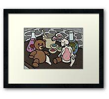 Teddy Bear And Bunny - Lab Experiments Framed Print