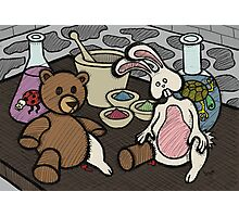 Teddy Bear And Bunny - Lab Experiments Photographic Print