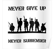 Never Give Up Military Poster