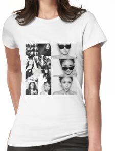 Nina Dobrev in Black and White Womens Fitted T-Shirt
