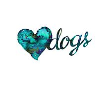 Love Dog Watercolor - Green Photographic Print
