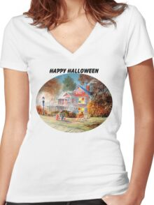 Halloween Trick Or Treat Women's Fitted V-Neck T-Shirt