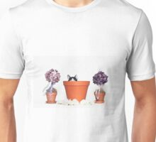 Black and White Kitten in a Flower Pot - Animal Rescue Portraits Unisex T-Shirt