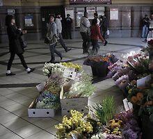 Flinders St Station Flowers by Andrew  Makowiecki