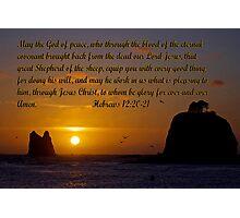 peaceful sunset w/hebrews 13:20-21 Photographic Print