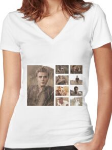 Paul Wesley grass photoshoot Women's Fitted V-Neck T-Shirt