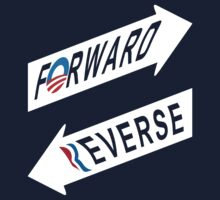 Obama = Forward, Romney = Reverse skewed print by portispolitics