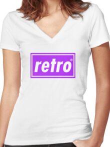 Retro - Purple Women's Fitted V-Neck T-Shirt