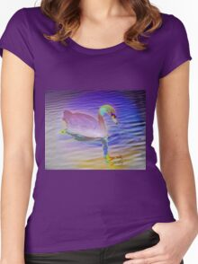 Swan mirror in pastels Women's Fitted Scoop T-Shirt