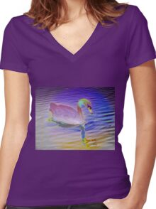 Swan mirror in pastels Women's Fitted V-Neck T-Shirt