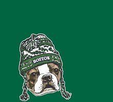 Boston Terrier Green Beanie T-Shirt
