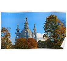 Golden Autumn surrounds the Smolny Poster
