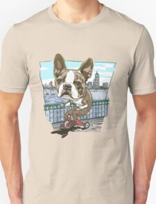 Boston Terrier Riding Red Tricycle T-Shirt