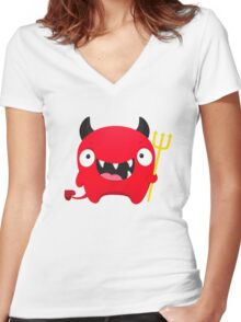 Happy Demon Women's Fitted V-Neck T-Shirt