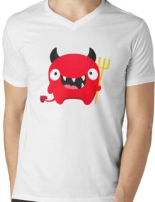 Happy Demon Mens V-Neck T-Shirt