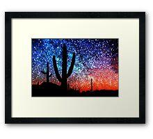 Cacti and the Starry Night Sky Framed Print