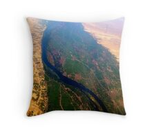 Egypt From Above - The Nile In Bright Color Throw Pillow