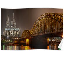 The Cologne cathedral by night Poster