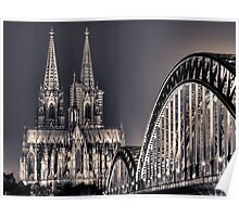 The Cologne cathedral split toned Poster