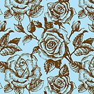 Brown & Blue Floral Pattern With Roses by artonwear