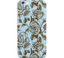Brown & Blue Floral Pattern With Roses iPhone Case/Skin