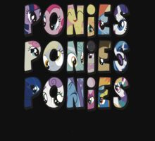 All Ponies T-shirt by Gqualizza