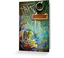 Colourful young girl on a door down a lane Greeting Card