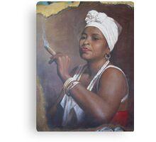 Cuban lady smoking a cigar Canvas Print