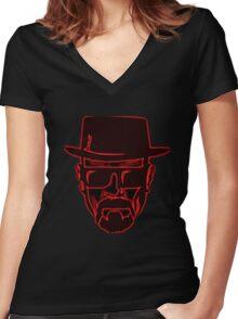 Walter White Heisenberg Breaking Bad Red Neon Women's Fitted V-Neck T-Shirt