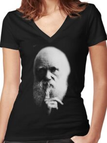 Charles Darwin Women's Fitted V-Neck T-Shirt