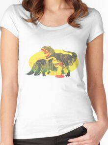 Triceratops vs T Rex Dino Fight Women's Fitted Scoop T-Shirt