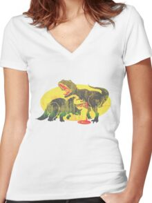 Triceratops vs T Rex Dino Fight Women's Fitted V-Neck T-Shirt