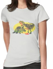 Triceratops vs T Rex Dino Fight Womens Fitted T-Shirt
