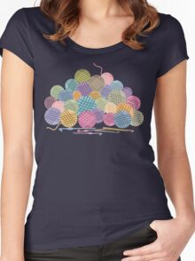 colorful crochet hooks balls of yarn Women's Fitted Scoop T-Shirt