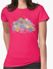 colorful crochet hooks balls of yarn Womens Fitted T-Shirt